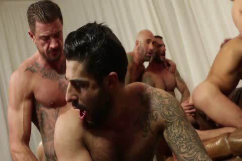 Rocco steel's Breeding Party Grows To Nine guy fuckfest