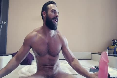 Bearded dude On web camera Using A fake penis Part 1