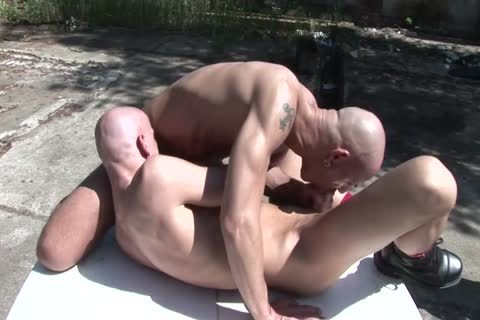 Two Bald sexy males lick Each Other's sleazy butthole