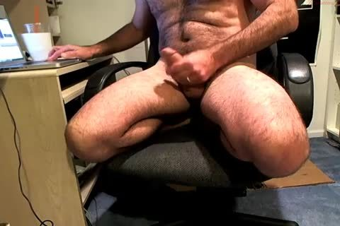 Hung rock hard Daddy Wanks On His Chair