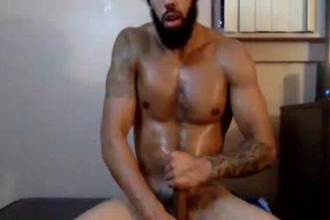 Bearded man Showing His enormous cock